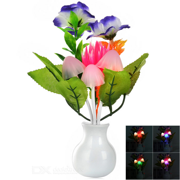 Lotus Style Light Control Warm White 3-LED Night Light - White + Pink