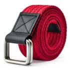 Unisex Leather + Cotton Woven Belt w/ Alloy Dual-Ring Buckle - Red