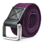 Unisex Leather + Cotton Woven Belt w/ Alloy Dual-Ring Buckle - Purple