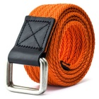 Unisex Leather + Cotton Woven Belt w/ Alloy Dual-Ring Buckle - Orange