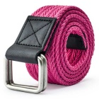 Unisex Leather + Cotton Woven Belt w/ Alloy Dual-Ring Buckle - Deep Pink