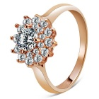 Rshow Women's Fashionable Lotus Style Zircon Inlaid Silver Plated Ring - Champagne Gold (US Size 8)