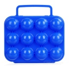 Portable Folding Plastic 12 Eggs Carrier Container Holder Storage Box Case for Picnic - Blue