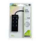 4 ports USB 2.0 Hub w / TF / / SD Card Reader - noir