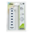 6-Port USB 2.0 High Speed HUB w/ SD / TF Slot - White