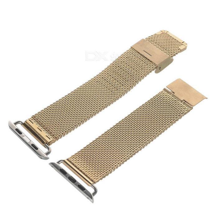 Mini Smile Stainless Steel Watch Band for 42mm APPLE WATCH - GoldenWearable Device Accessories<br>Form ColorGoldenQuantity1 DX.PCM.Model.AttributeModel.UnitMaterialStainless steelPacking List1 x Band<br>