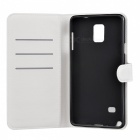 Flip Open PU Case w/ Card Slots / Stand for Samsung Note 4 - White