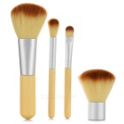 4-in-1 Bamboo Handle Cosmetic Brushes Set + Storage Bag - Light Yellow