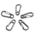 Mini Zinc Alloy Quickdraw Clip Key Ring - Grey (5 PCS)