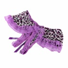 Sexy Bowknot Leopard Pattern Perspective Lace T-Back for Women - Purple + Black + Multicolored