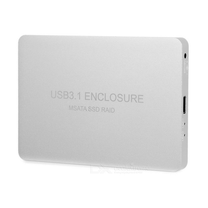 USB 3.1 Type-C to 2-mSATA RAID SSD Adapter Enclosure Case - Silver