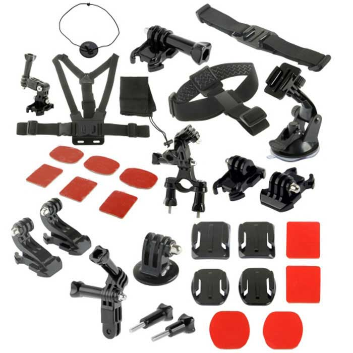 31-in-1 Camera Accessories Kit for GoPro,SJ5000, SJCam, Xiaoyi - Black