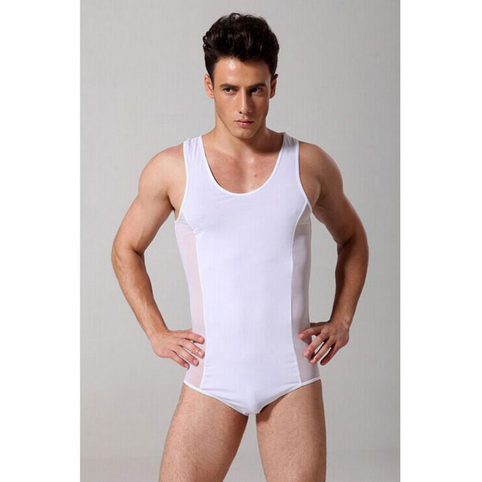 Men's Sexy Transparent Mesh One-Piece Lingerie - White (XL)