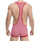 Men's Sexy Striped Siamese Suspender Underwear - Red + White (XL)