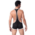 Men's Breathable Mesh Strap One-Piece Sexy Underwear - Black (M)