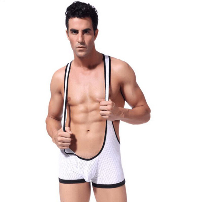 Men's Breathable Mesh Strap One-Piece Sexy Underwear - White (XL)