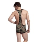 Men's Suspenders One-Piece Sexy Lingerie Underwear - Camouflage (XL)