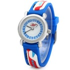 Subway-Printed Silicone Children Quartz Analog Watch - Blue (1*SR626)