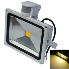 JIAWEN Waterproof 30W 3200K 2500lm Warm White LED Human Body Infrared Induction Floodlight (85~265V)