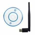Bluetooth V4.0 + 2.4GHz 150M Wi-Fi USB 2.0 Adapter w/ Antenna - Black