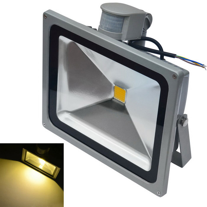 JIAWEN Waterproof 50W LED Human Body IR Sensor Floodlight 3200K - Grey