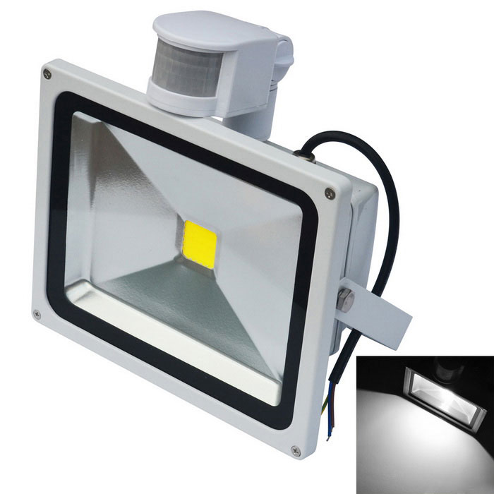 JIAWEN Waterproof 6500K LED Human Body IR Induction Floodlight - WhiteFloodlights<br>Form  ColorWhiteColor BINWhiteMaterialAluminumQuantity1 DX.PCM.Model.AttributeModel.UnitWaterproof GradeIP65Power20WRated VoltageAC 85-265 DX.PCM.Model.AttributeModel.UnitConnector TypeOthers,WiringEmitter TypeCOBTotal Emitters1Theoretical Lumens1600-1700 DX.PCM.Model.AttributeModel.UnitActual Lumens1600-1700 DX.PCM.Model.AttributeModel.UnitColor Temperature12000K,Others,6000-6500KDimmableNoBeam Angle120 DX.PCM.Model.AttributeModel.UnitOther FeaturesPower cord: 30cm±2cmPacking List1 x LED floodlight<br>