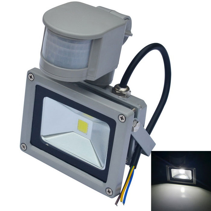 JIAWEN Waterproof 10W White LED Human Body IR Sensor Floodlight - Grey