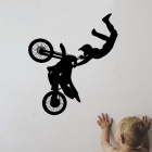 Motorbike Acrobatics Style Home Decoration Wall Decor PVC Art Decal Sticker - Black