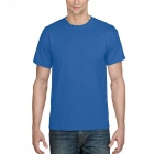 Men's Simple Short-Sleeved Round Neck Plain T-Shirt - Blue (L)