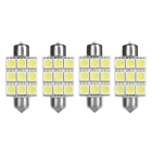 Festoon 39mm 1W Car LED Reading Lamps Cool White 7000K 45lm SMD 5050 - Yellow + Silver (12V / 4 PCS)
