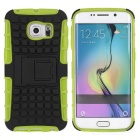 Armour Style TPU + PC Protective Back Case w/ Stand for Samsung Galaxy S6 Edge - Green + Black