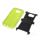 Armour Style TPU Back Case w/ Stand for Samsung S6 Edge - Green+Black