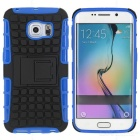 Armour Style Protective Back Case w/ Stand for Samsung Galaxy S6 Edge - Blue + Black