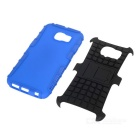 Armour Style Back Case w/ Stand for Samsung S6 Edge - Blue + Black
