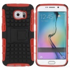 Armour Style Protective Back Case w/ Stand for Samsung Galaxy S6 Edge - Red + Black