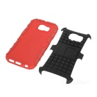 Armour Style Back Case w/ Stand for Samsung Galaxy S6 Edge - Red+Black