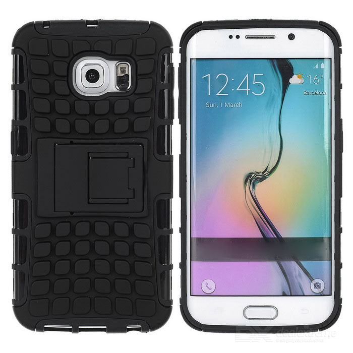 Armour Style TPU Back Case w/ Stand for Samsung Galaxy S6 Edge - Black