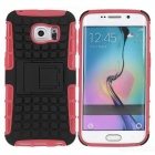 Armour Style TPU Back Case w/ Stand for Samsung S6 Edge - Pink + Black
