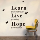 """Learn From Yesterday"" English Proverbs Style PVC Home Decor Wall Sticker Decal - Black"