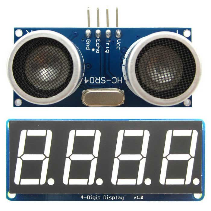 HC-SR04 Ultrasonic Distance Measuring + Display Module for ArduinoSensors<br>Form ColorBlue + BlackModelN/AQuantity2 DX.PCM.Model.AttributeModel.UnitMaterialPCB + plasticApplicationMeasure the distance and displayWorking Voltage   5 DX.PCM.Model.AttributeModel.UnitWorking Current2 DX.PCM.Model.AttributeModel.UnitEnglish Manual / SpecYesDownload Link   http://pan.baidu.com/s/1i83aIPacking List1 x Ultrasonic range sensor module1 x 4-Digit display module<br>