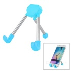 Universal Foldable Aluminum Alloy Desktop Holder Stand Tripod for Cellphone & Tablet PC - Blue