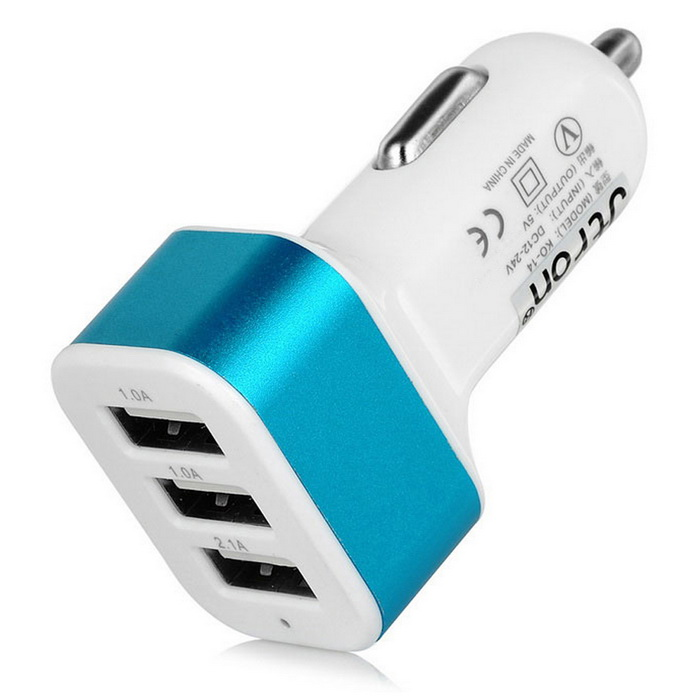Jtron 5V / 4.1A 3-Port USB Car Charger Adapter - White + Blue