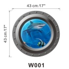 Creative 3D Submarine Underwater View Shark Style Removable PVC Refrigerator Wall Sticker Decal