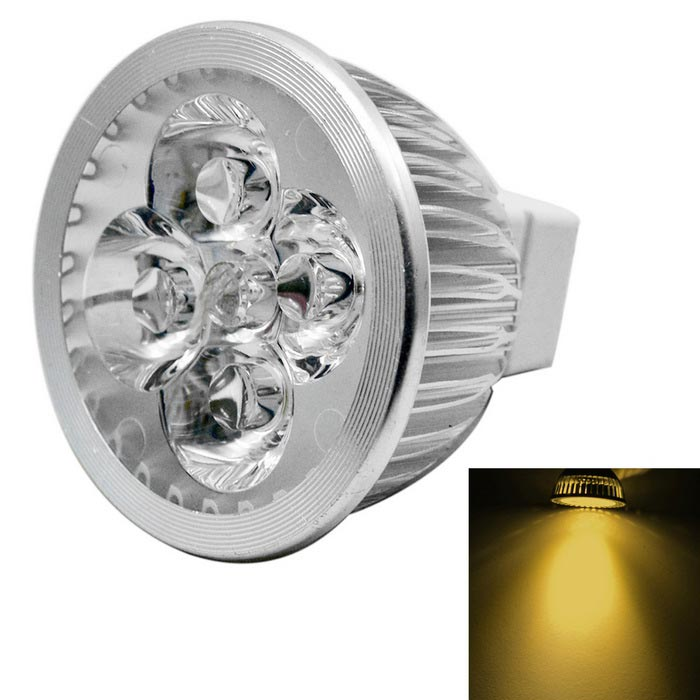 JIAWEN MR16 4W regulable 4-LED foco caliente blanco 400lm (dc 12V)