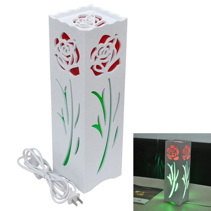 JIAWEN E27 7W Rose Style Desk LED Lamp White 36-SMD - White + Red