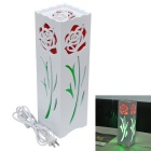 JIAWEN E27 7W Rose Style Desk LED Lamp White 6500K 600lm 36-5730SMD - White + Red (AC 110~220V)