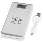 Wireless QI Charger + 12000mAh Dual-USB Mobile Power - Silver + White