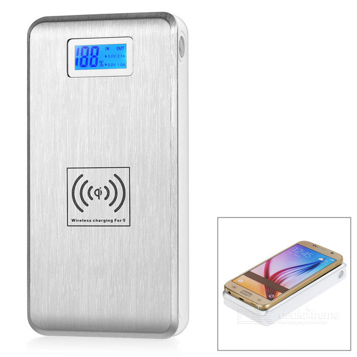 7000mAh 2-USB Wireless Power Bank w/ LCD Display, Flashlight - Silver