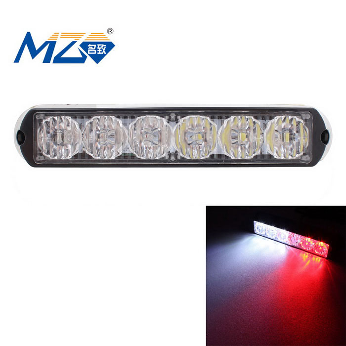 MZ 18W White + Red 6-LED Car Flashing Warning Lamp - Black (12~24V)