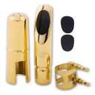 SLADE Premium Alto-Saxophone Mouthpiece + Mouthpiece Patches Pad for Ligature #6 - Black + Golden